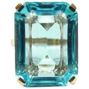 HUGE Blue Topaz 14k Gold 24ct Cocktail Ring